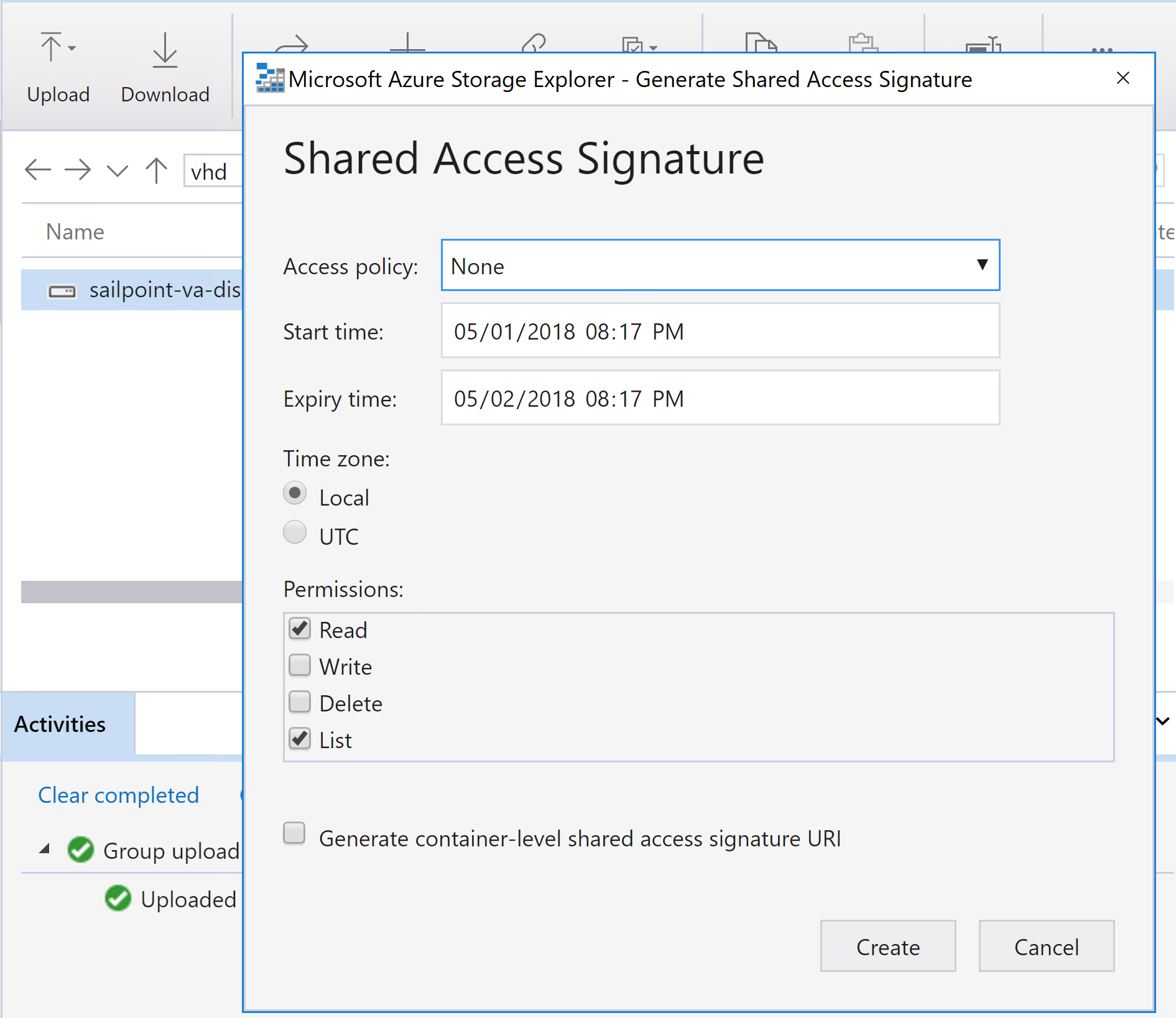 Right Click - Get Shared Access Signature