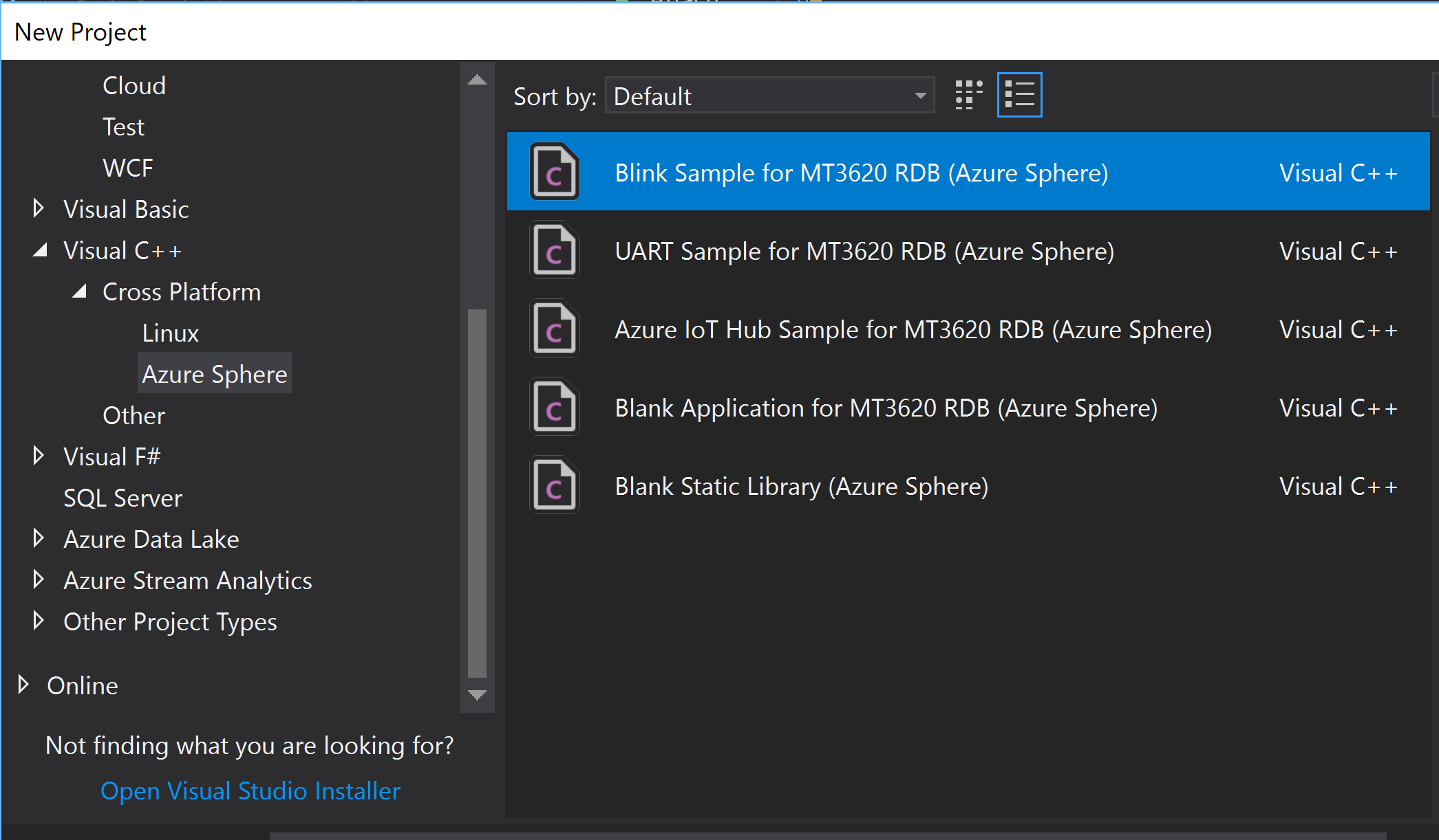 New Project Azure Sphere Blink Example.PNG