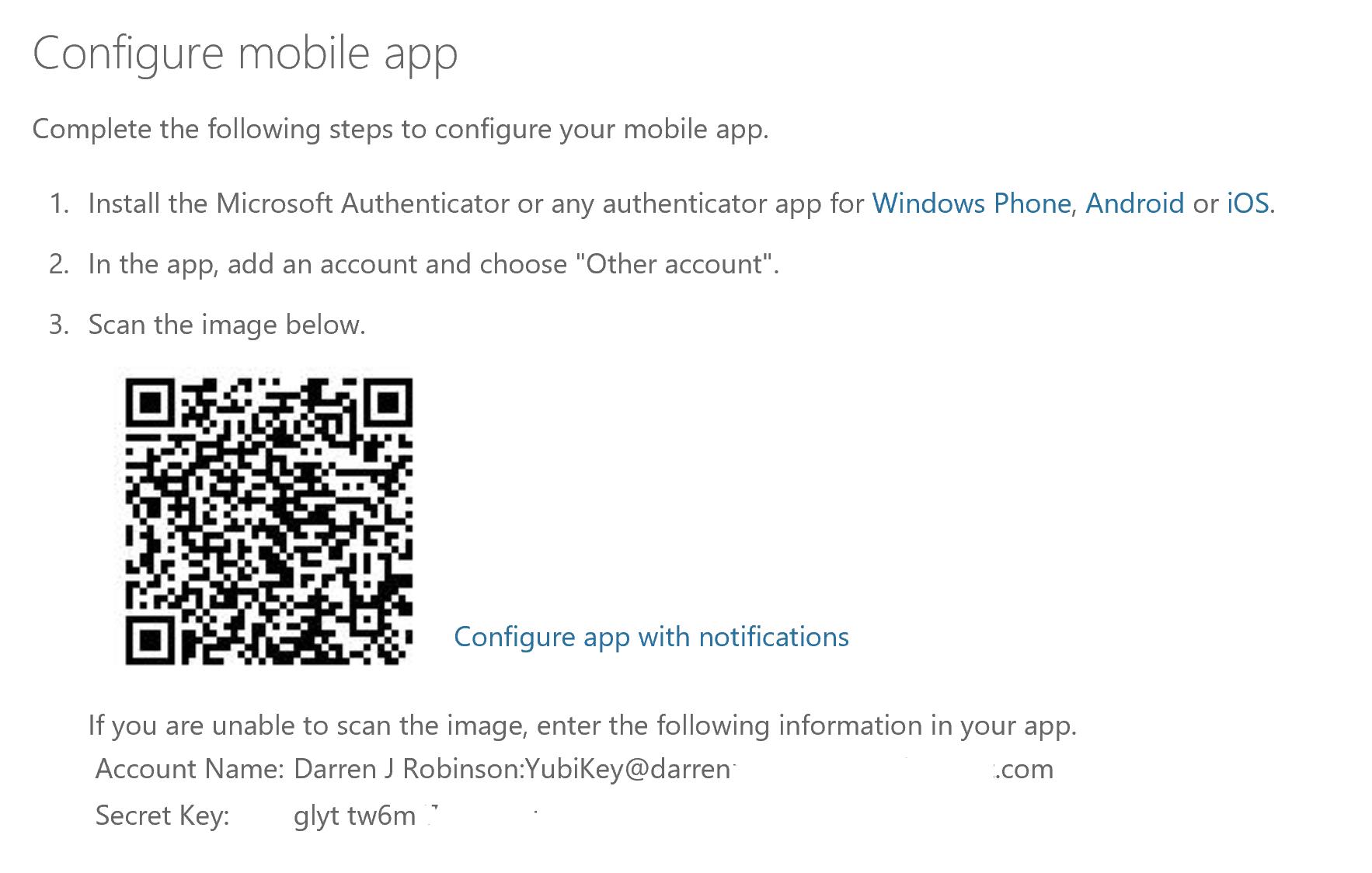 Enrol YubiKey Token Azure MFA 3