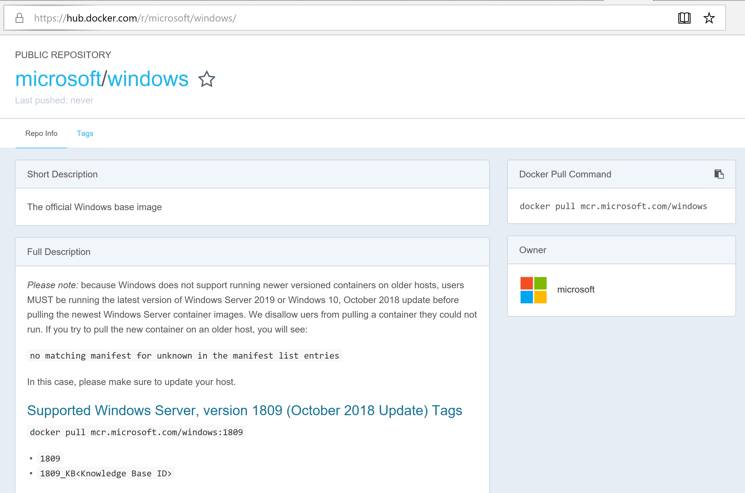 Docker Windows Image Registry.PNG