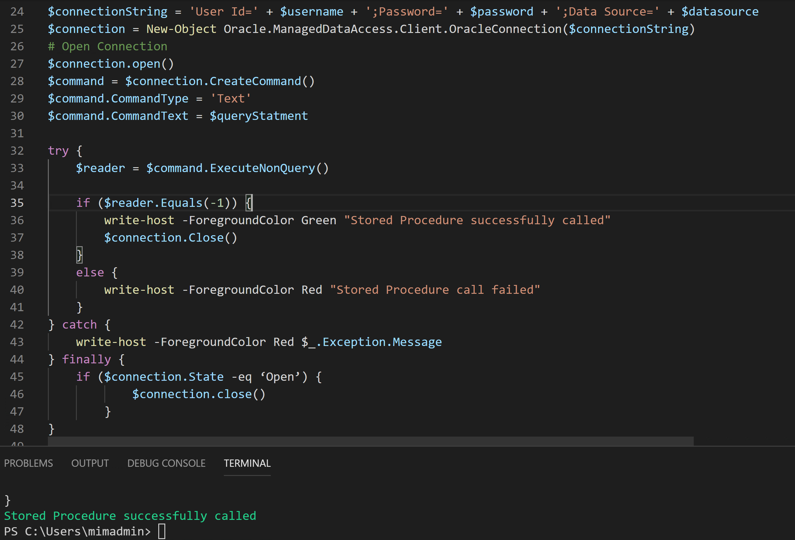 Oracle Data Provider for .NET Stored Procedure Execution Result.PNG