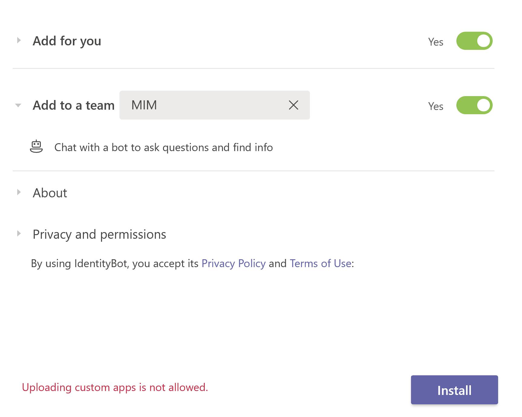 Uploading Custom Apps is not allowed