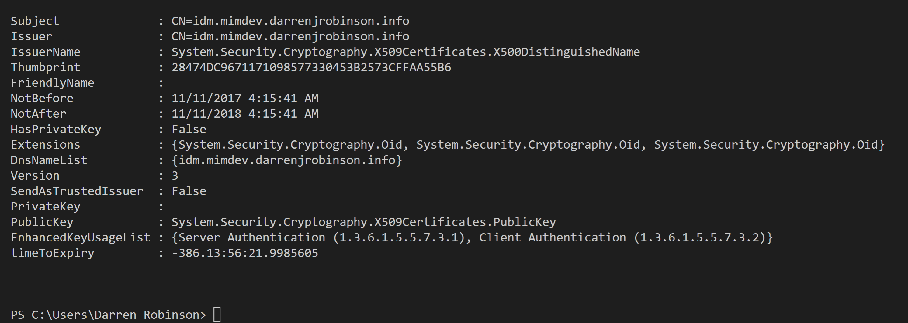 X509Details output for an expired certificate