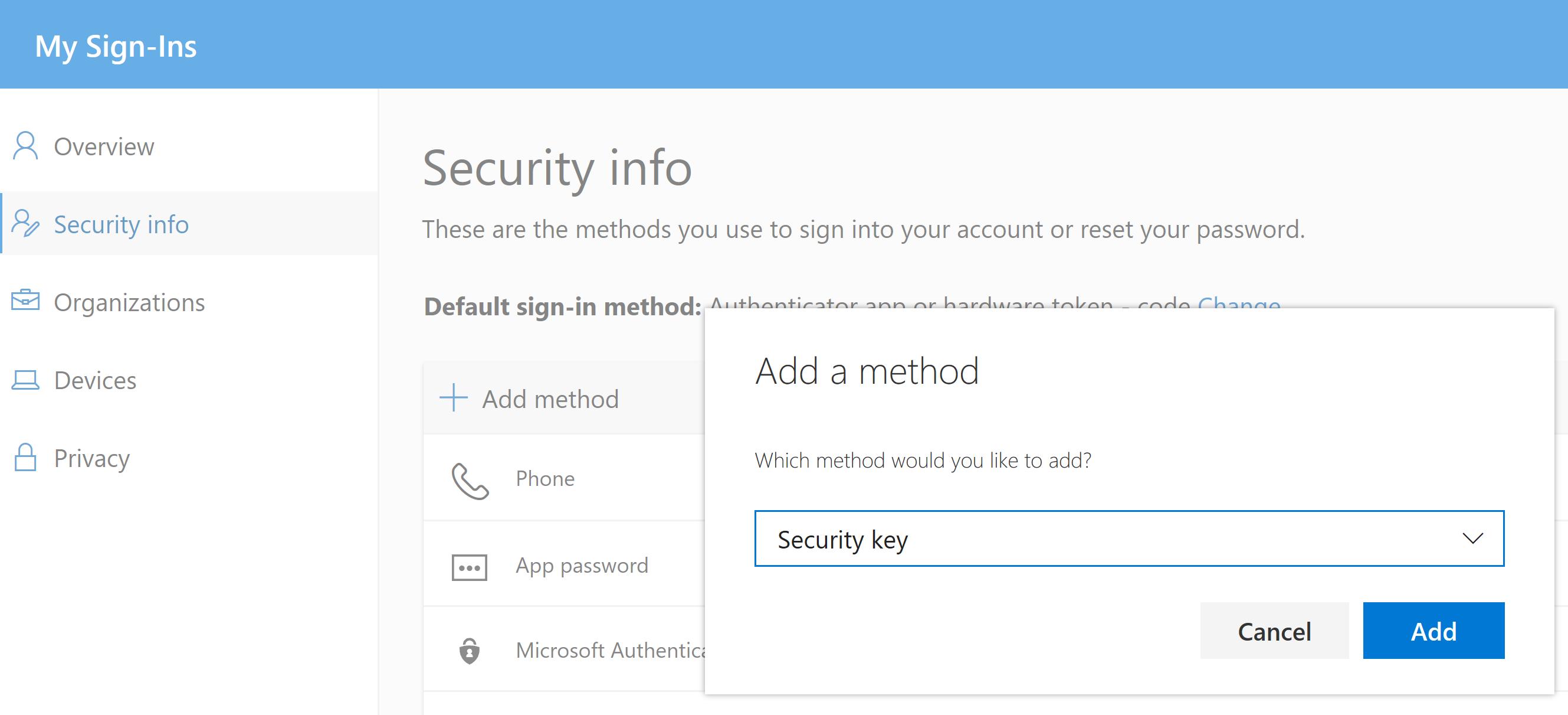 Azure AD Add Hardware Security Token Method