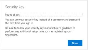 FIDO2 Hardware Security Token Registered