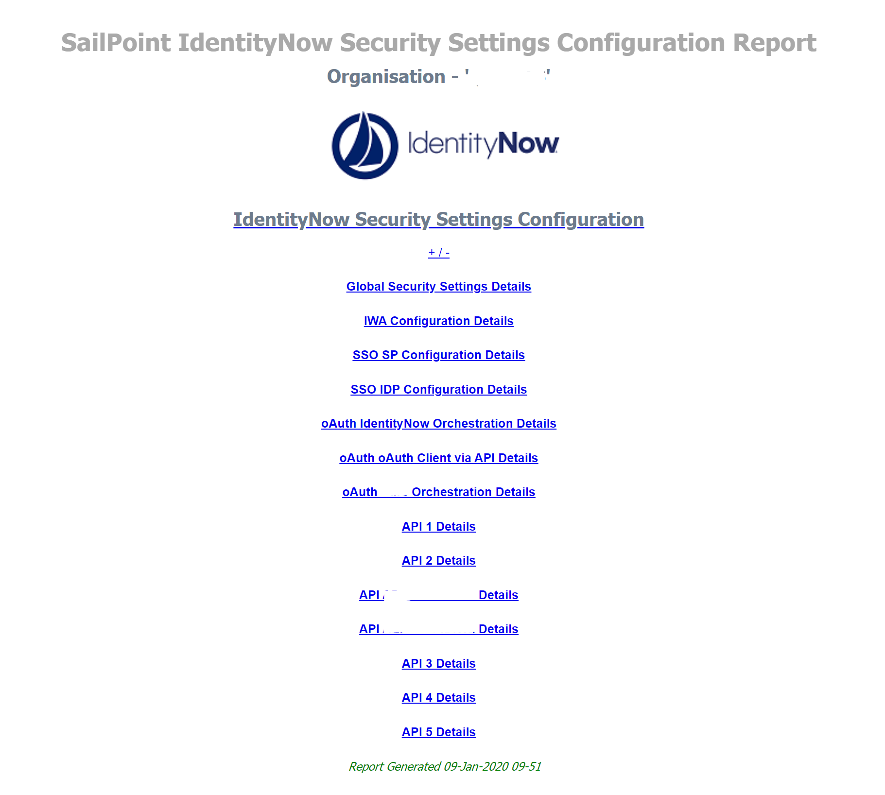 SailPoint IdentityNow Security Config Report