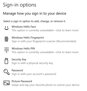 Adding a Hardware Security Token - Account Options - Windows 10